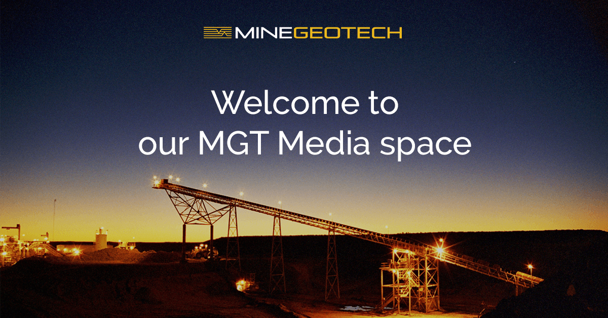 MGT logo with mine site image illuminated at night, introducing our Media website section for Publications and News.