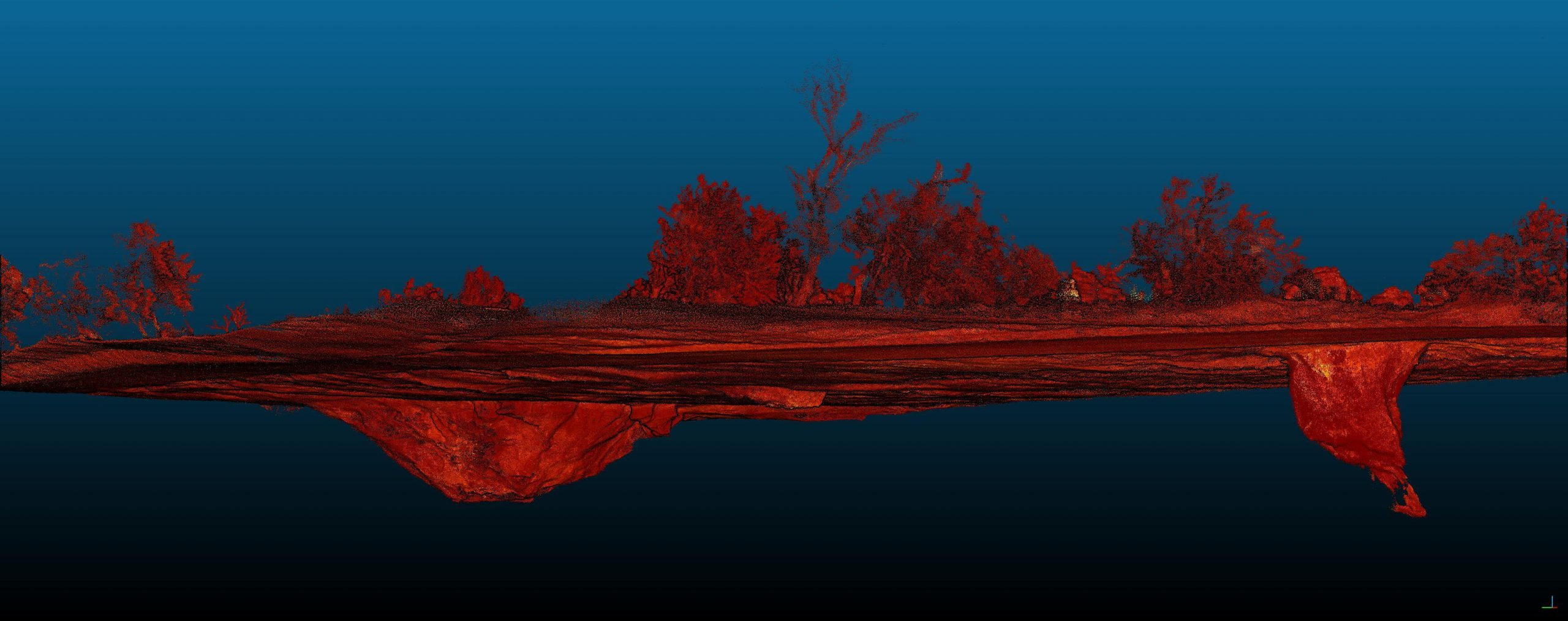MineLiDAR technology and services in action, landscape scana above and below the ground in 3D